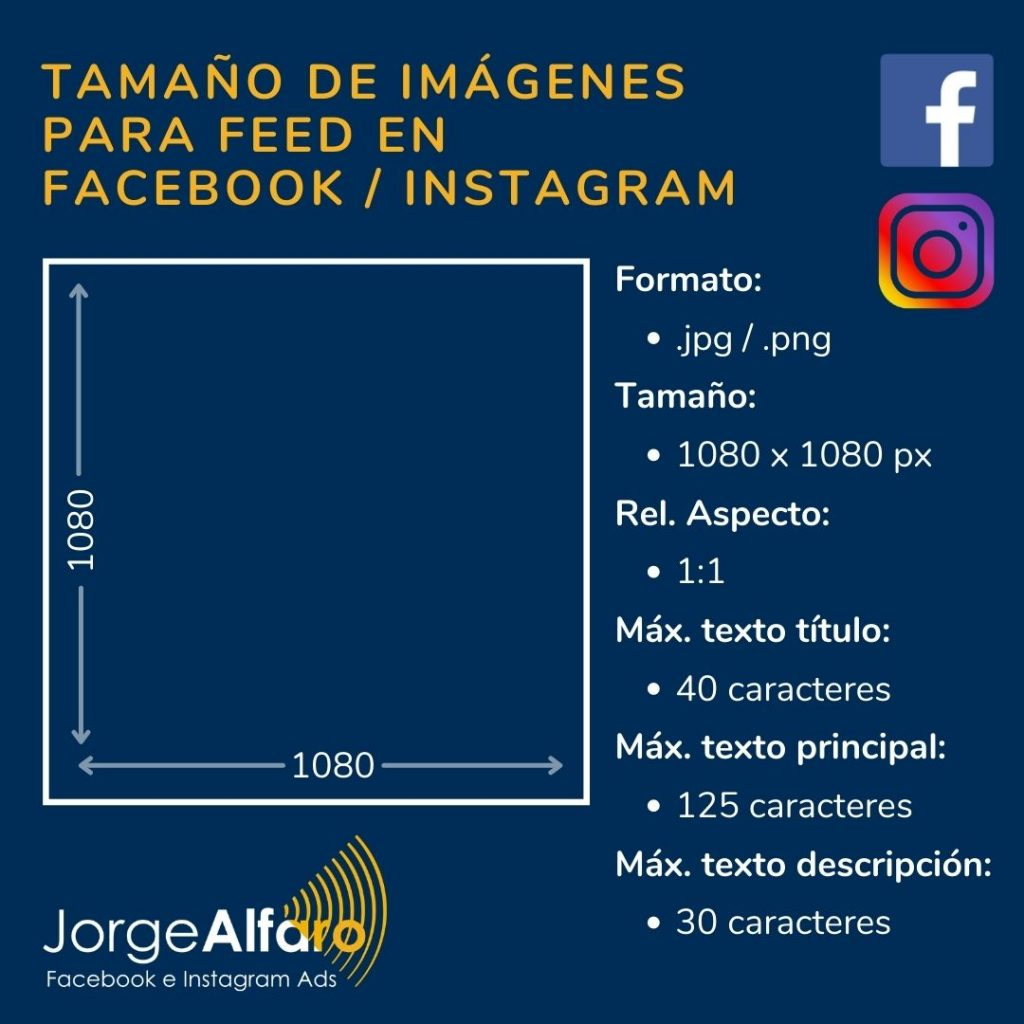 tamaño de imagen para feed en facebook instagram ads