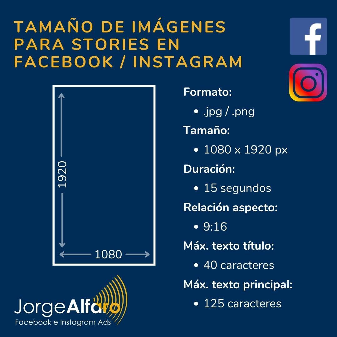 tamaño de imagen para stories en facebook instagram