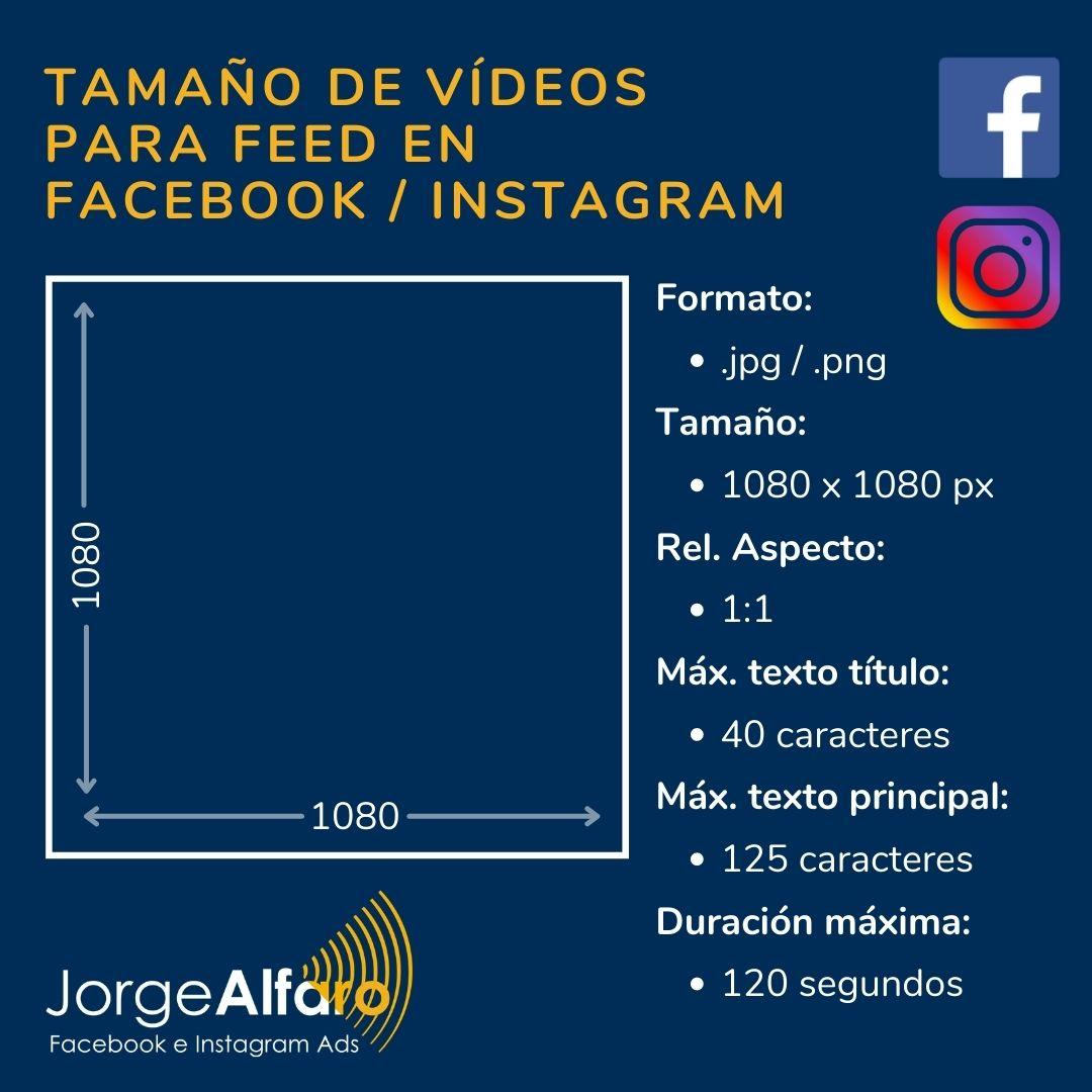 tamaño de vídeo para feed en facebook instagram ads