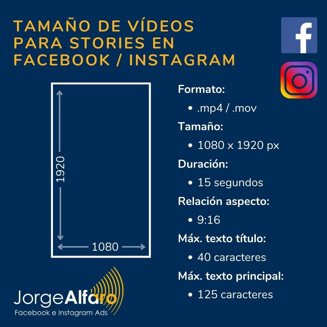 tamaño de vídeos para stories en facebook instagram